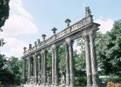 <strong>Neo-Classical Colonnade and Statues in Potsdam Park.</strong> copyright © Glenn Loney/The Everett Collection
